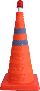 Collapsible Safety Traffic Cone - 22 Inch Multipurpose Pop-Up Safety Cone - Extendable with LED Light for Night Time Roadside Emergency - (9.5