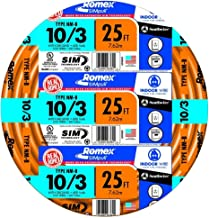 Southwire 63948421 25' 10/3 with ground Romex brand SIMpull residential indoor electrical wire type NM-B, Orange