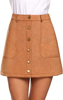 Women's Skirt Button Front Elegant High Waisted A-Line Mini Skirts with Pockets