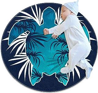 Blå sommar tropisk sköldpadda, barn rund matta polyester överkast matta mjuk pedagogisk tvättbar matta barnkammare tipi tä...