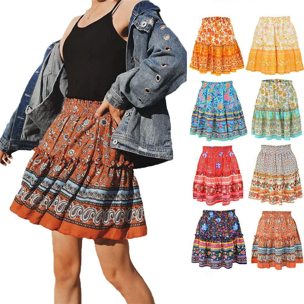 MOONMALLS Womens Summer Casual High Waist Ruffle Skirt Boho Cute Pleated Flared Mini Skater Skirt