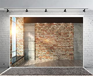 Leyiyi 7x5ft Photography Background Modern Room Interior Backdrop Vintage Brick Wall Window Sunlight Wooden Floor Cement Marble Study Inside Bedroom Living Room Corner Photo Portrait Vinyl Studio Prop