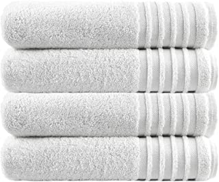 TRIDENT Luxurious Bathroom Spa Towels   WHITE   4 Bath Towels   Pure Cotton, Highly Absorbent, Super Soft  Ideal for Hotel...