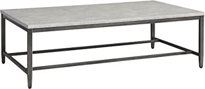 Benjara Rectangular Shape Cocktail Table with Faux Concrete Top, Gray and Black