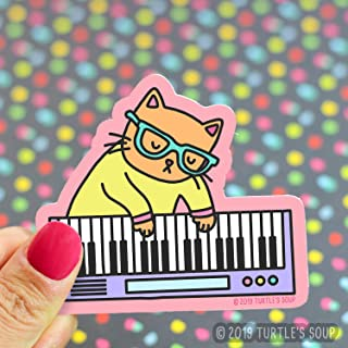 Cute Cat Stickers, Musical Kitty, Keyboard, Piano Cat, For P