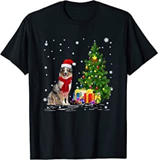 Funny Aussie Dogs Lover Gift Santa Hat Aussie Christmas T-Shirt