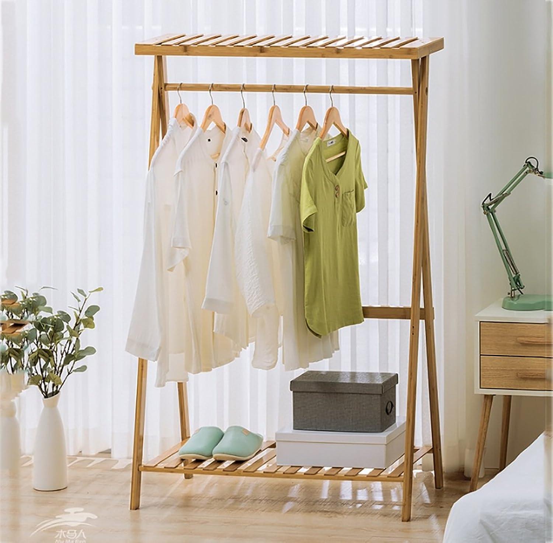 Floor Stand Hanging Rack Coat Rack Living Room Bedroom Hanger Floor-to-Floor Balcony Clothes Hangers Floor Standing Coat and Hat Stand (color   Log color) (Size   90  45  145cm)