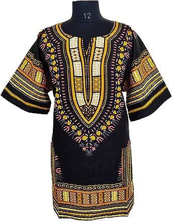 Camisa/camiseta de Dashiki con estampado africano, unisex, color negro y dorado, talla pequeña a 4XL, para festivales tribales y todas las ocasiones