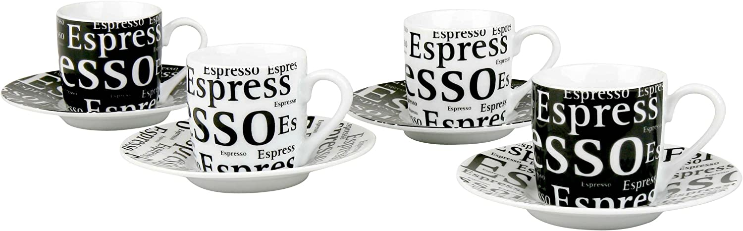 Konitz Espresso Writing Cups and Saucers, 3-Ounce, Black White, Set of 4