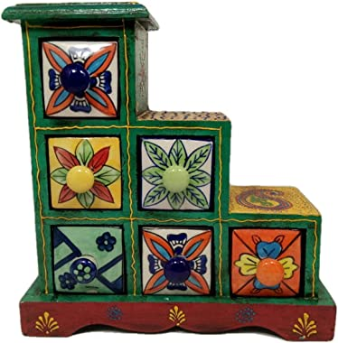 India Meets India Christmas,Handicraft,Chest of 6 Decorated Drawers,Green Color,Best for Gifting, Made by Awarded/Certified I