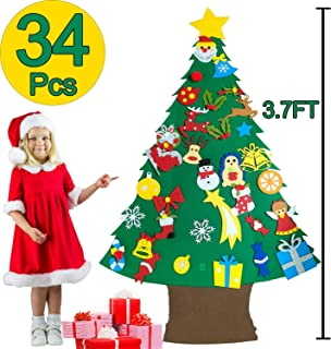 3.7 Ft Felt Christmas Tree for Toddler Kids - DIY Christmas Tree with 34 Pcs Detachable Xmas Ornaments Wall Door Hanging Decorations - 2019 New Year Gifts for Children Party Supplies
