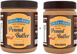 CREAM CORNER Peanut Butter Combo Crunchy + Crunchy Spread All Natural High Protein Nut Butter Healthy Snack (1Kg+500g)