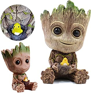 Flowerpot Treeman Baby Groot Succulent Planter Cute Green Plants Flower Pot with Hole Pen Holder Groot Action Love Figures Guardians of The Flowerpot Fashion Cute Model Toy Pen Pot Best Gifts For Kids