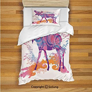 Moose Decor Kids Duvet Cover Set Twin Size, Unusual Deer Figure with Trippy Featured Color Effects Digital Vivid Display 2 Piece Bedding Set with 1 Pillow Sham,Mauve Orange