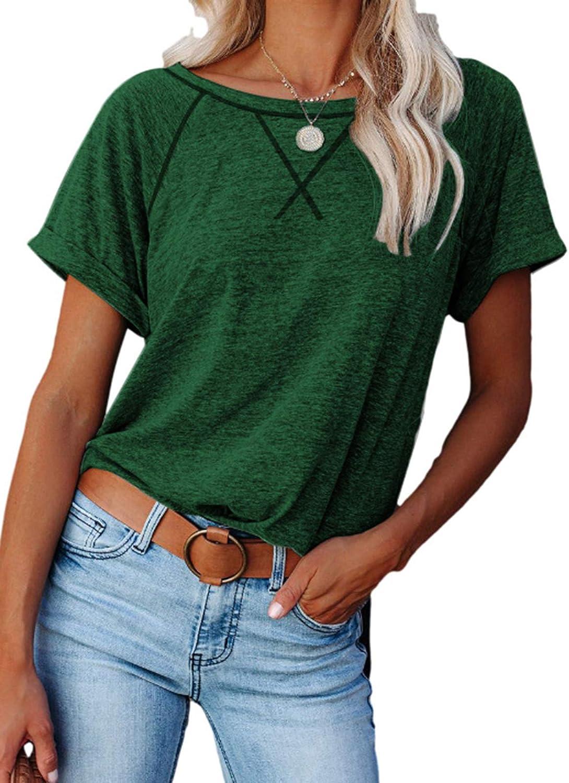 Women's Summer Tops Short Sleeve Raglan Crewneck T Shirts Casual Tunic Top S-2XL