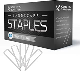 KUNTA GARDEN Stakes 50 Pack Galvanized Landscape Staples 6 Inch, 11 Gauge, Sturdy Rust Resistant Gardening Supplies for Anchoring Landscaping, Weed Barrier Fabric, Securing Ground Cover, Grass