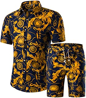 Men's 2 Piece Tracksuits Floral Hawaiian Sweat Suit Casual Short Sleeve Shirt and Shorts Suit Set Sports Outfit