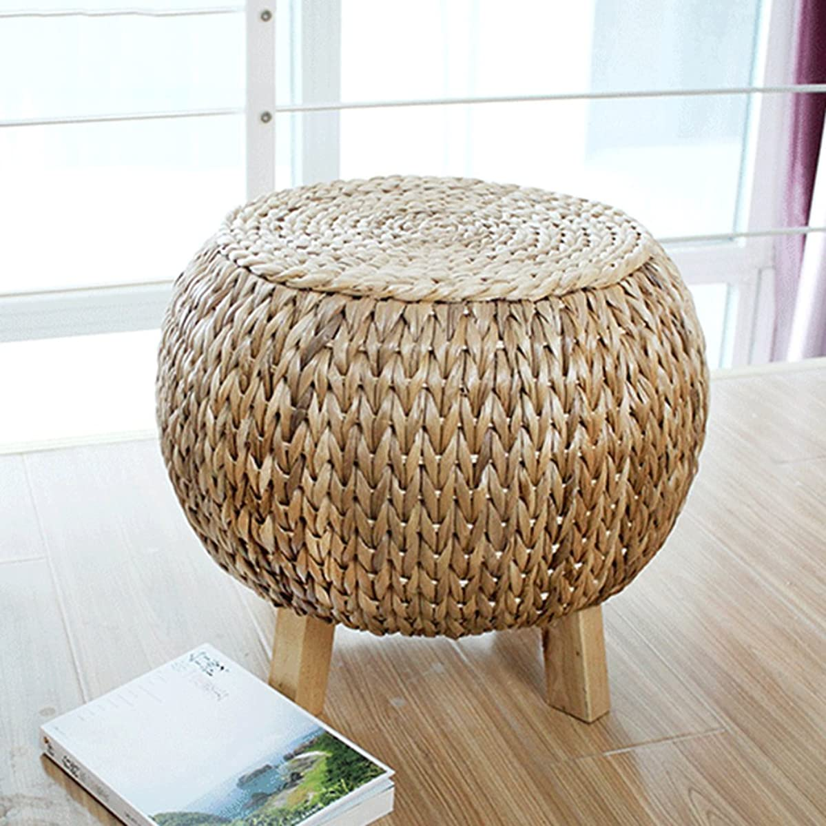 YQ WHJB Rattan Ottoman,Round Foot Stools,Sofa Bench Hand-Woven Stepping Stool Change Shoe Bench-4 Wooden Legs-A