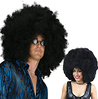 Beautyself Mega Black Afro Wigs for Men and Women -70s Unisex Jumbo Costume Funny Party Big Afro Wigs (Black)