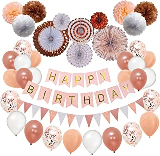 Nextin Rose Gold Birthday Party Decorations, Birthday Decorations Set 52pc Pom Poms, Hanging Paper Fans, Happy Birthday Banner, Glitter Garlands, Balloons,Confetti Balloons. Birthday Decoration kit