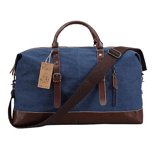 13ffbc457498 Ulgoo Travel Duffel Bag Canvas Bag PU Leather Weekend Bag Overnight