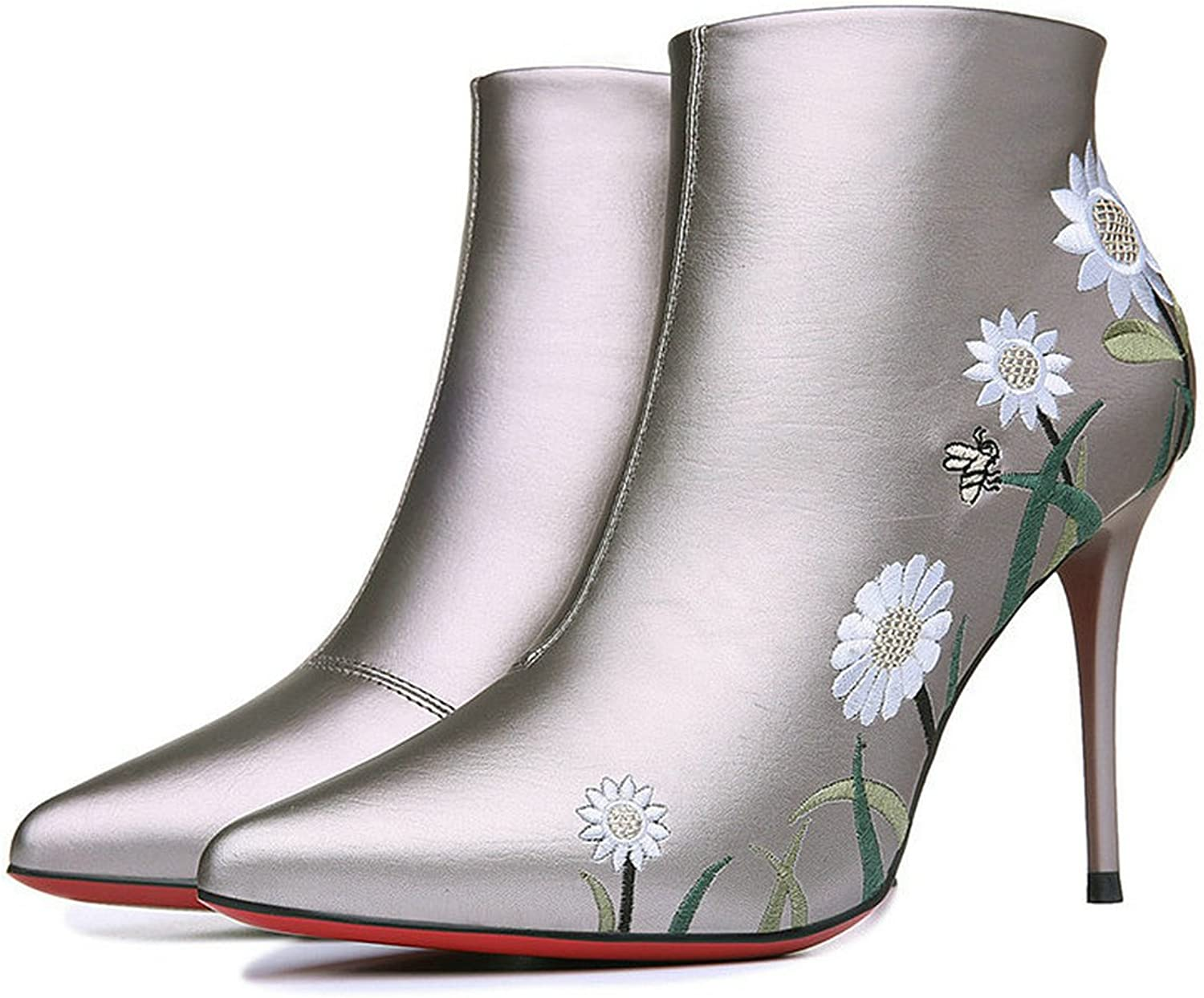 Womens High Heels Low Top Solid PU Winter Fashion Boots Flower Lady Boots (8, Silver)