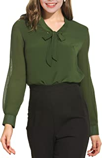 Oyamiki Women Bow Tie Neck Chiffon Long Sleeve Blouse Tops Casual Office Work Shirts
