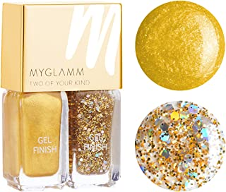 Myglamm Two Of Your Kind Oh My God and Golden Shimmer Nail Polish, Alpine Gold/Glitter Gold