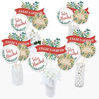 Big Dot of Happiness Feliz Navidad - Holiday and Spanish Christmas Party Centerpiece Sticks - Table Toppers - Set of 15