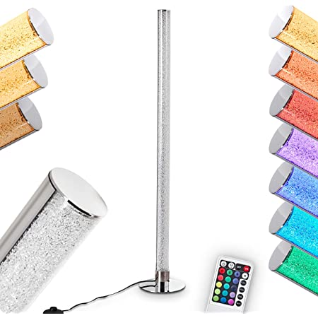 Lampadaire LED Flaut à intensité variable, en métal chromé, 10 Watt, 1000 Lumen à 3100 Kelvin (blanc chaud), LED RGB dont la couleur peut être contrôlée par la télécommande incluse