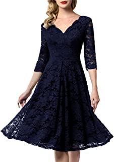 Women's Vintage Floral Lace Bridesmaid Dress 3/4 Sleeve Wedding Party Midi Dress