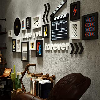 WYANAN Solid Wood Photo Frame Photo Wall Industrial Wind Photo Frame Wall DIY Combination Background Wall Decoration Suitable for Living Room, Bar, Internet Cafe, High-End Restaurant, Etc.