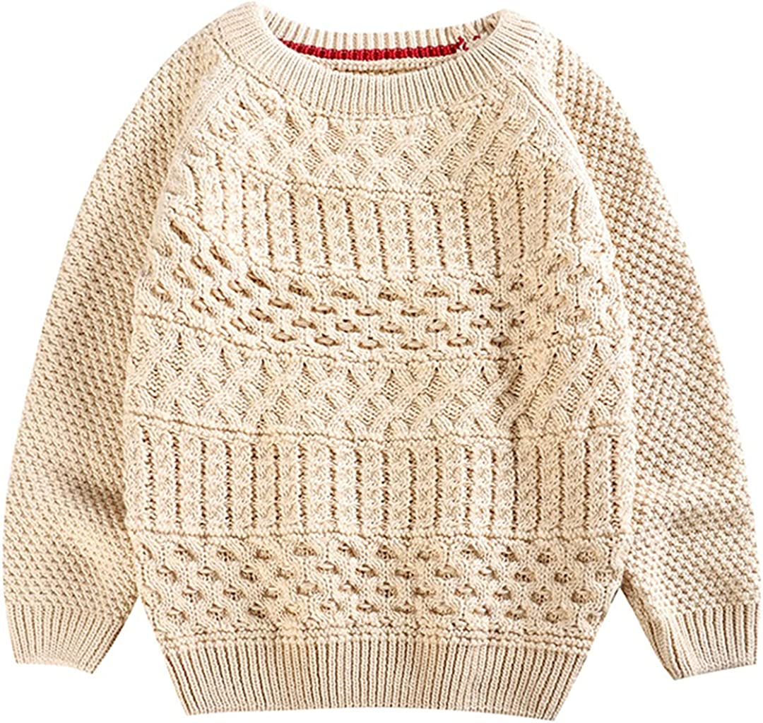 HEYDHSDC 1-5y Casual Kids Girl Boy Knit Sweaters Solid Color Loose Round Collar Pullover