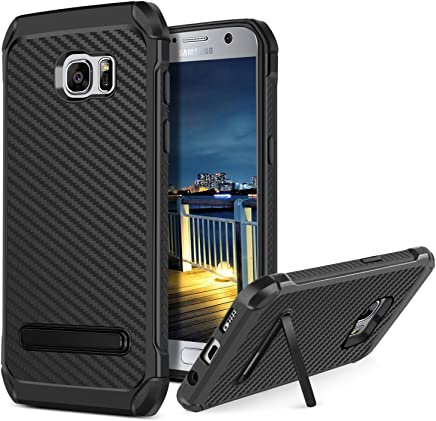 Galaxy S7 Case,Samsung S7 Case,BENTOBEN Heavy Duty Rugged Hybrid Hard PC Cover Soft TPU Bumper Non-Slip Shockproof Protective Carbon Fiber Texture Phone Case with Kickstand for Samsung Galaxy S7,Black