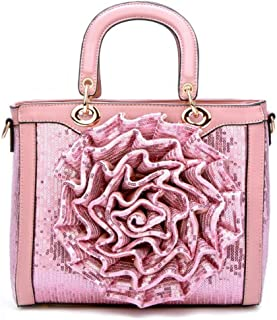 Trendy Lady Wild Sequins Tote Embroidered Flower Tote Bag Fashion Retro Shoulder Bag Zgywmz (Color : Pink, Size : 27 * 11 * 22cm)