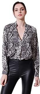 Women's Long Sleeve Leopard Print Chiffon Blouse Button Down Top Shirts