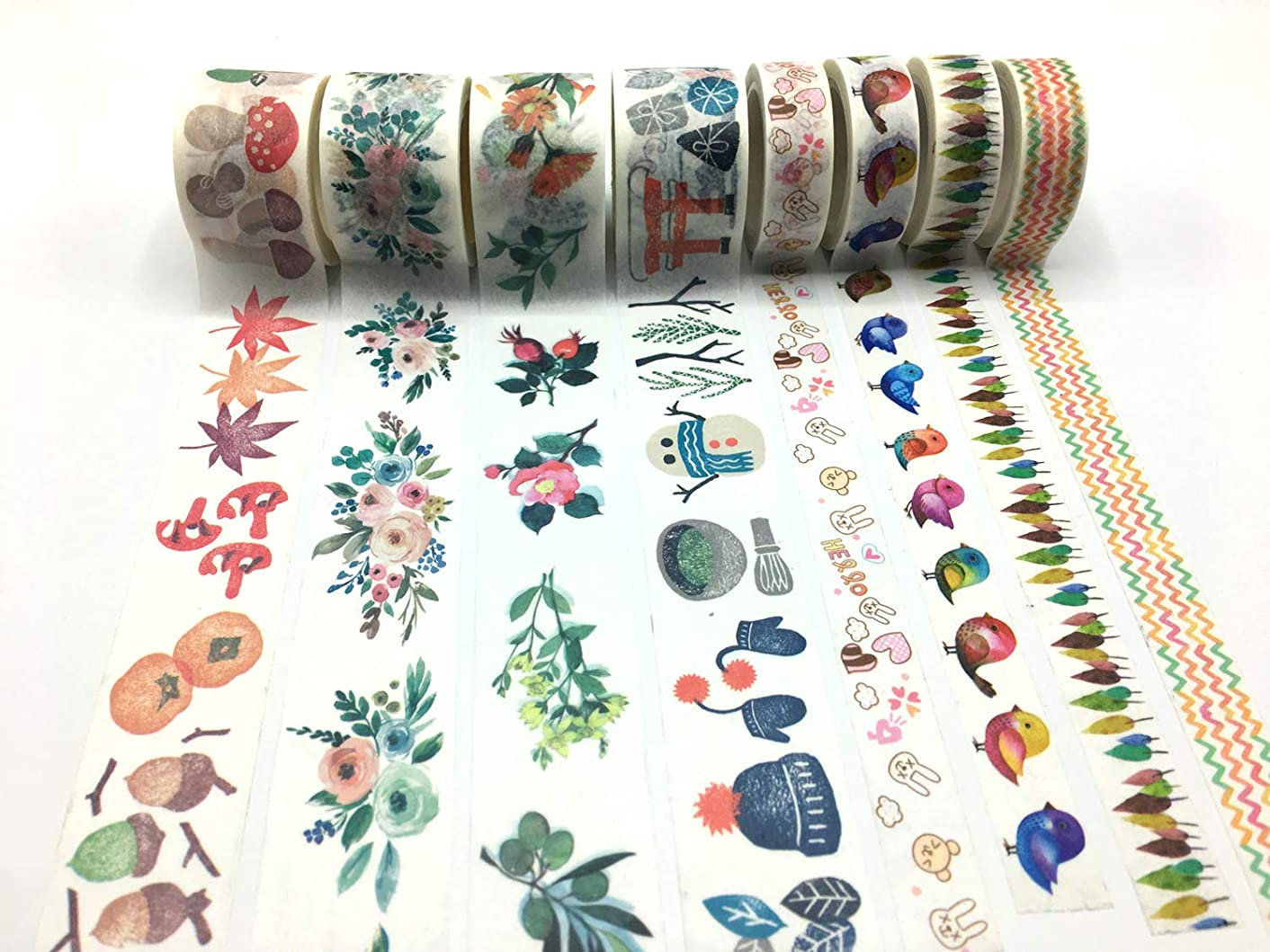 Washi Tape Floral Decorative Paper Masking Tape Space Planner Sticker for Arts and DIY Crafts, Scrapbooking, Bullet Journal,Computer, Gift Wrapping, Holiday Party Supplies (Craft Tape Sticker 02)