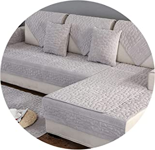 Winter Autumn Plush Stone Quilted Sofa Cover Furniture Covers slipcovers for Living Room canape Sofa Protector,Grey per pic,90cm210cm