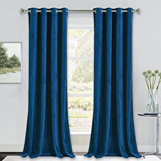NICETOWN Blue Velvet Curtains 96 inches, Media Movie Theater Room Decor, Soundproof..