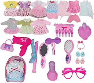 Pretend Playset Pack of Alive Baby Doll Dress Clothes Costumes 10PCS Outfits for 12inch American Doll with 11PCS Doll Accessories Hair Dryer Perfume Hair Curler for Doll and Girls Pretend Play Gifts