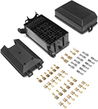 DEDC 12-Slot Relay Fuse Box, 6 Relays, 6 ATC/ATO Fuses Holder Block with 41pcs Metallic Pins for Automotive Jeep Boat Marine Engine Bay