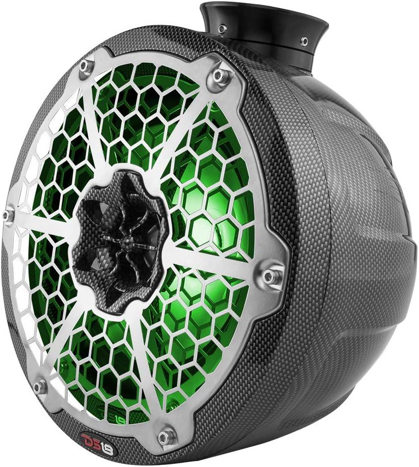 2 Speakers 100W RMS DS18 CF-PS6 Carbon Fiber Tower Pod Speaker 1 Titanium Dome Tweeter 2-Way 4 Ohms Integrated RGB LED Lighting IP65 Marine Grade Specs 300W Max 6.5 100/% UV Stable
