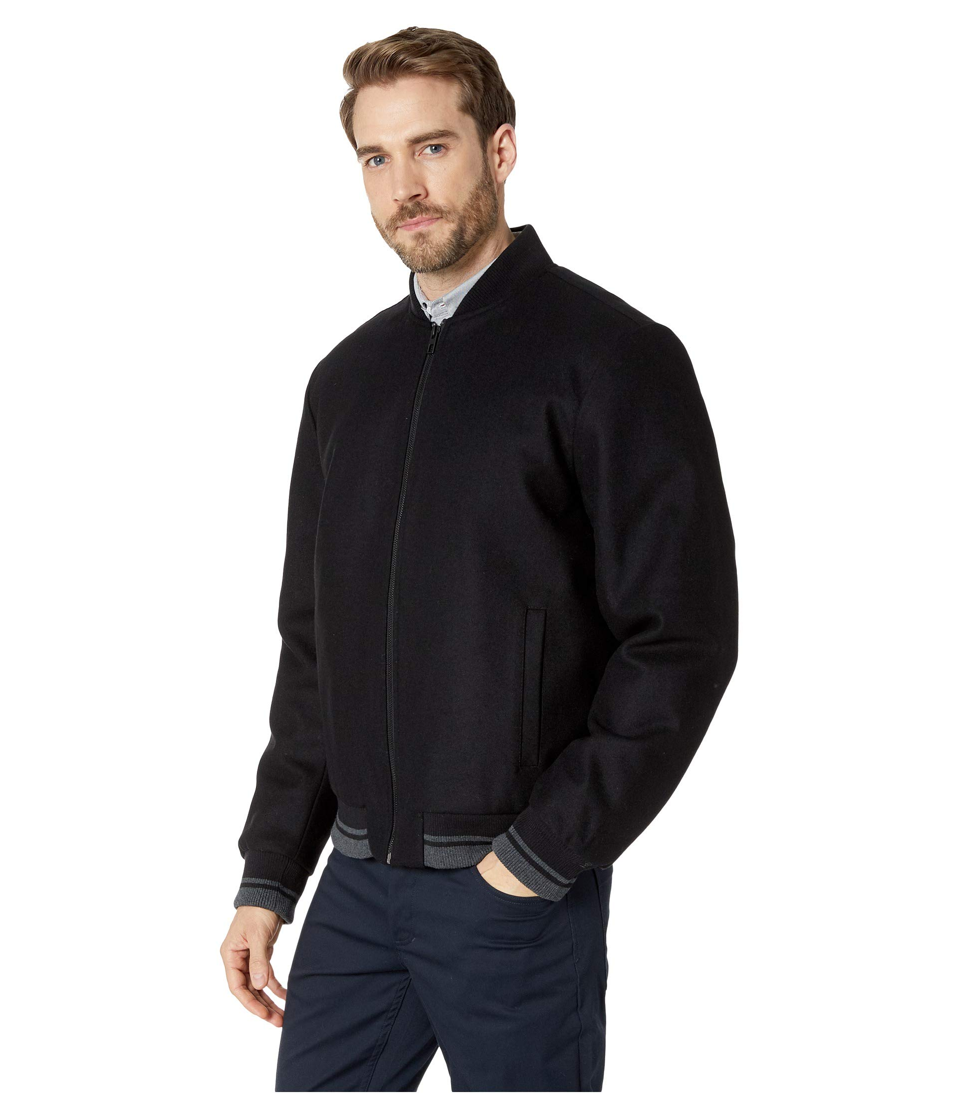 With Calvin Jacket Contrast Wool Klein Black Bomber Rib Tipping nFFxv1UwA