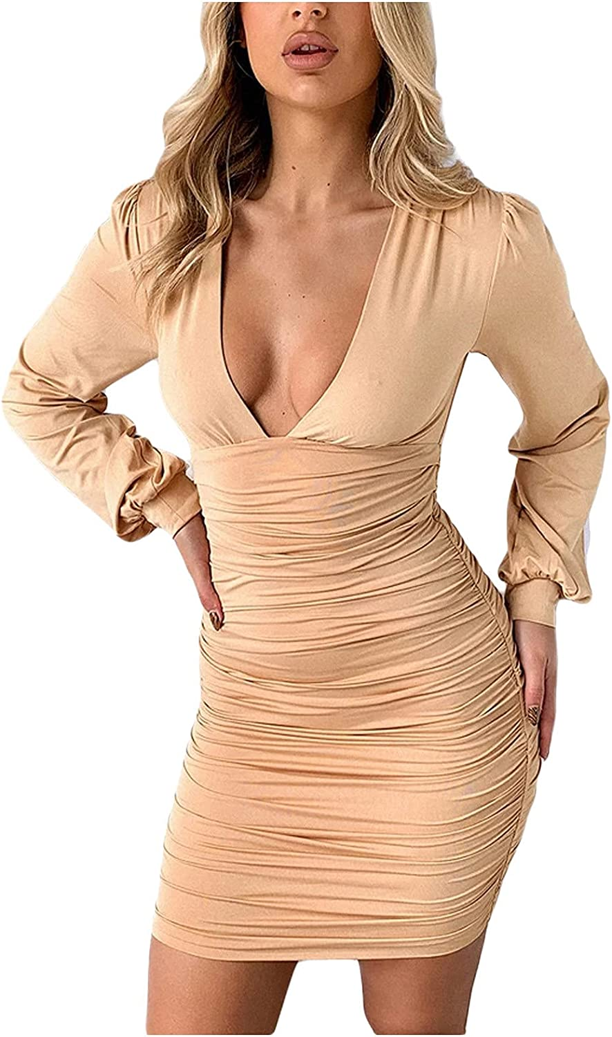 Womens Sexy V Neck Club Dresses Ruched Bodycon High Waisted Mini Dress Fall Long Sleeve Club Night Out Party Dress