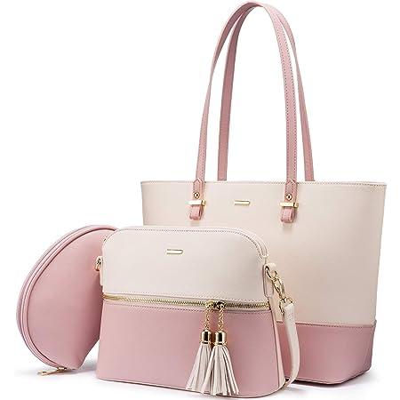 LOVEVOOK Handtasche Damen Shopper Damen Gross Schultertasche Umhängetasche Tasche Damen Synthetik Leder Handtaschen 3-teiliges Set für Büro Einkauf Reise