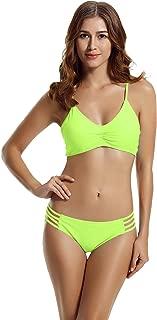 zeraca Women's Strap Side Bottom Halter Racerback Bikini Bathing Suits (FBA)