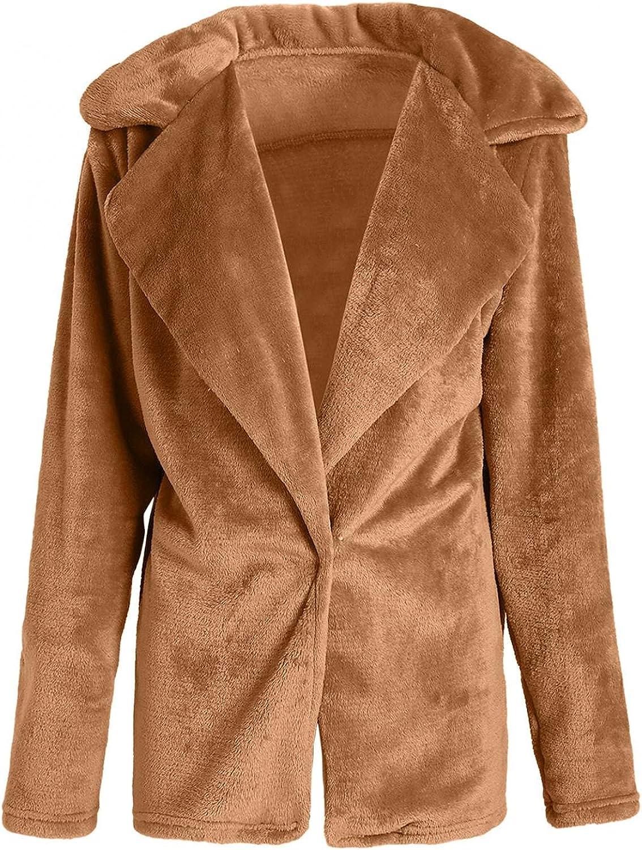 Fleece Jacket Coats for Women Winter Warm Outwear Long-Sleeved Lapel Double-Faced Faux Fur Casual Solid Color Overcoat