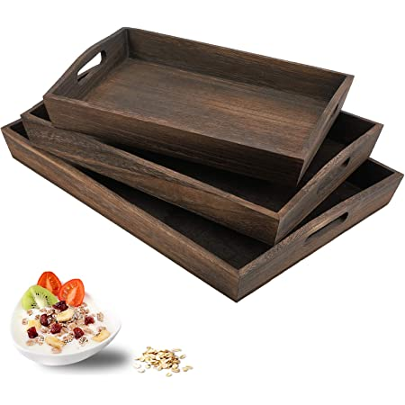 Oak handle 2 teal and gray brunch meal tray serving Board