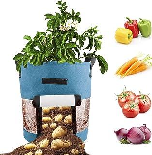 Potato Planter Bags, 2 Pack 10 Gallon Garden Vegetables Planter Bags Aeration Fabric Plant Tub Felt Planting Bag for Growi...