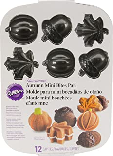 Wilton Fall Autumn Cast Aluminum Mini Cakes Muffin Pan, Leaves Acorns Pumpkins